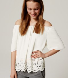 LOFT Off-the-Shoulder Eyelet Blouse