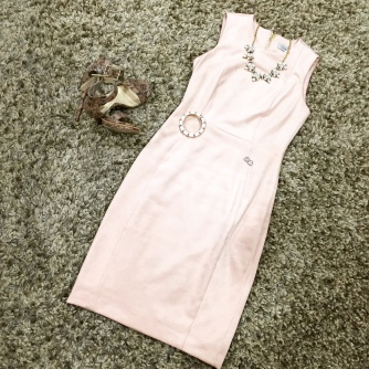 A blush-colored suede Calvin Klein dress from TJMaxx