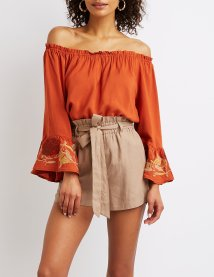 Charlotte Russe Off-The-Shoulder Floral Bell Sleeve Top