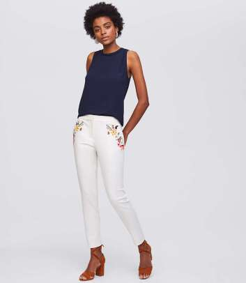 Loft Floral Embroidered Riviera Pants in Marisa Fit